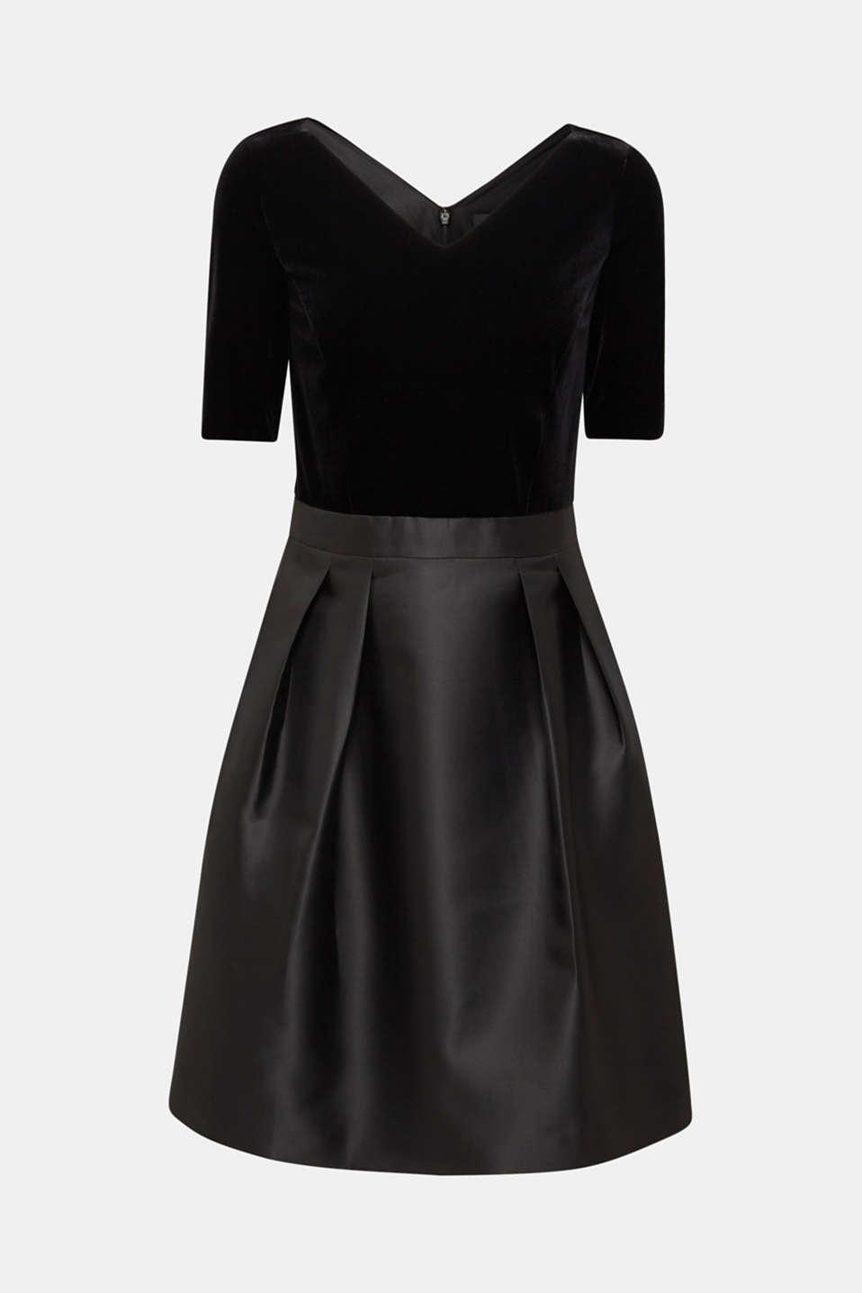 Dress made of velvet and satin, BLACK, detail image number 6