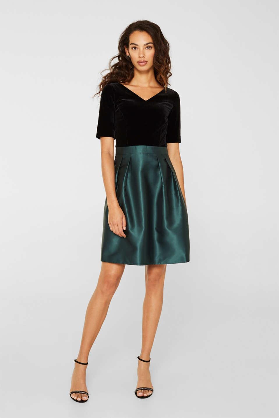 Dress made of velvet and satin, DARK TEAL GREEN, detail image number 0