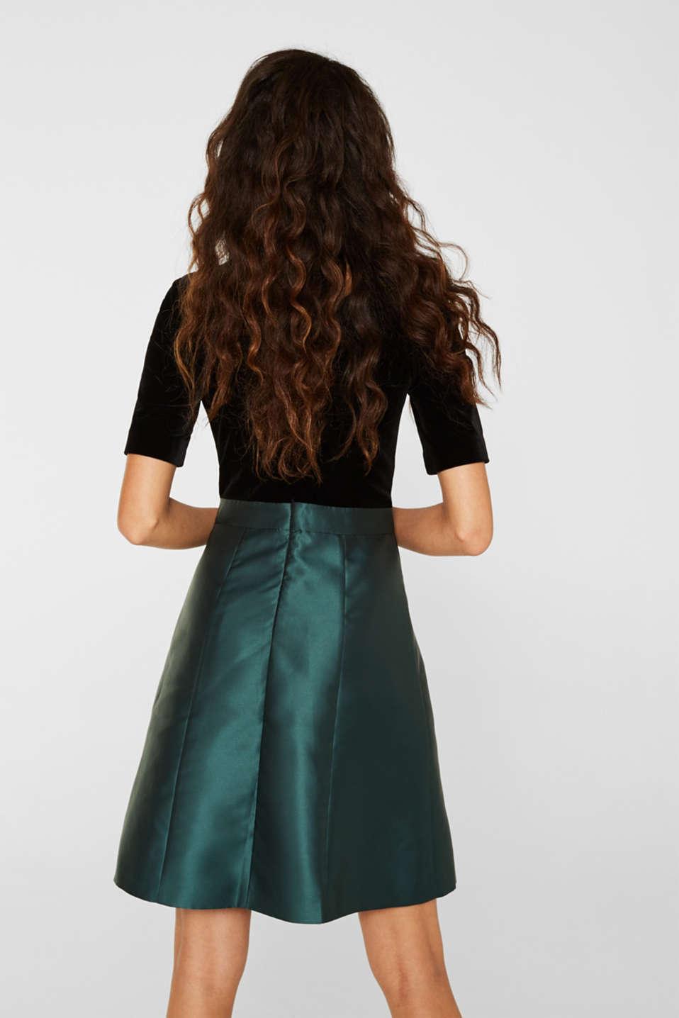 Dress made of velvet and satin, DARK TEAL GREEN, detail image number 3