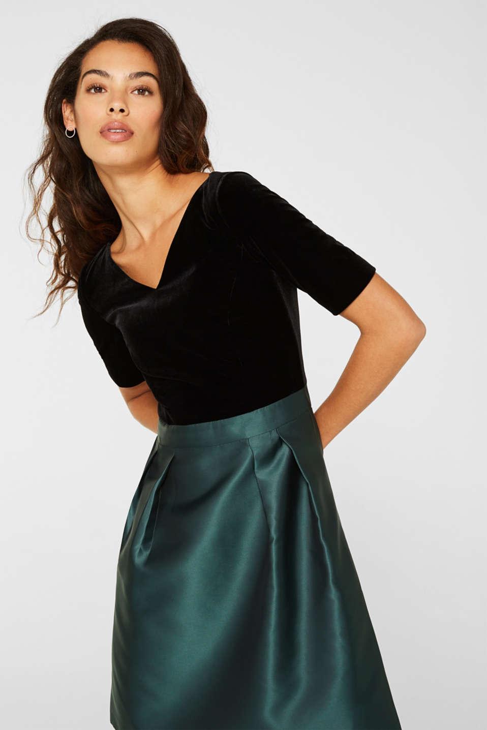 Dress made of velvet and satin, DARK TEAL GREEN, detail image number 5