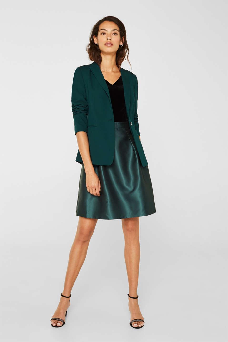 Dress made of velvet and satin, DARK TEAL GREEN, detail image number 1