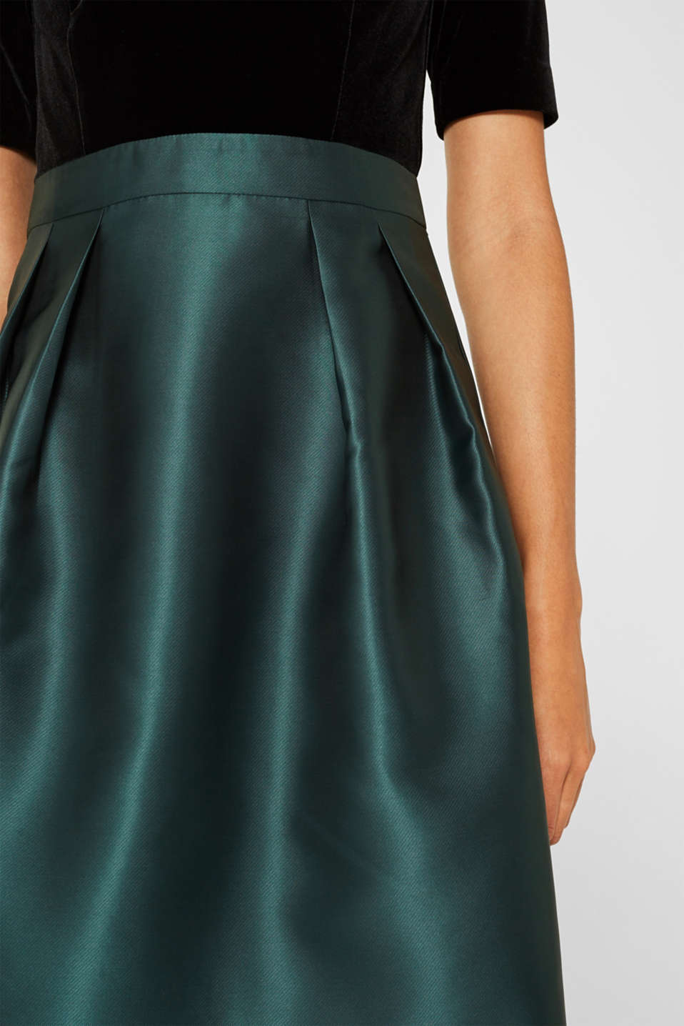 Dress made of velvet and satin, DARK TEAL GREEN, detail image number 2