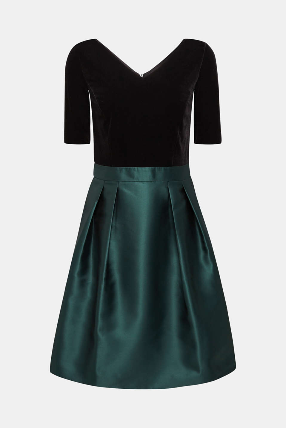 Dress made of velvet and satin, DARK TEAL GREEN, detail image number 6