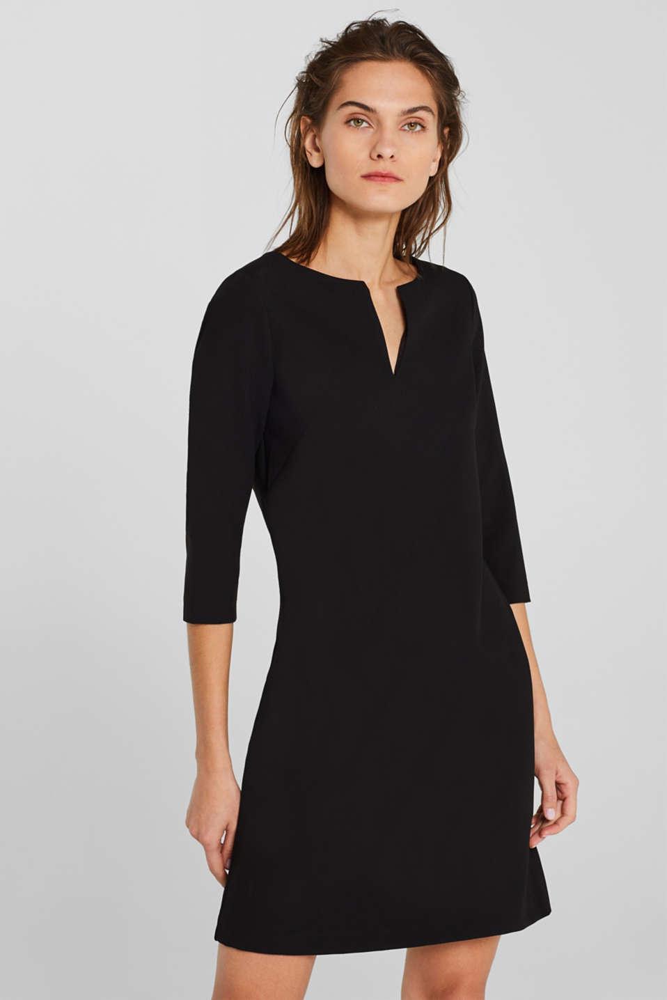 V-neck shift dress, BLACK, detail image number 5
