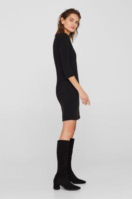 V-neck shift dress, BLACK, detail