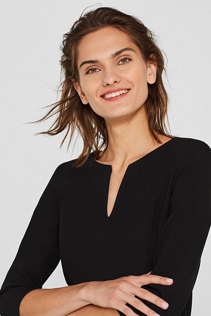 V-neck shift dress, BLACK, detail image number 2