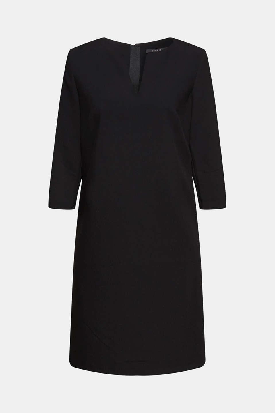 V-neck shift dress, BLACK, detail image number 6