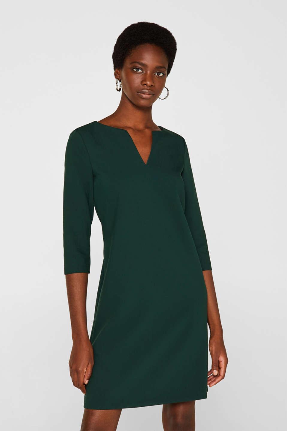 V-neck shift dress, DARK TEAL GREEN, detail image number 0