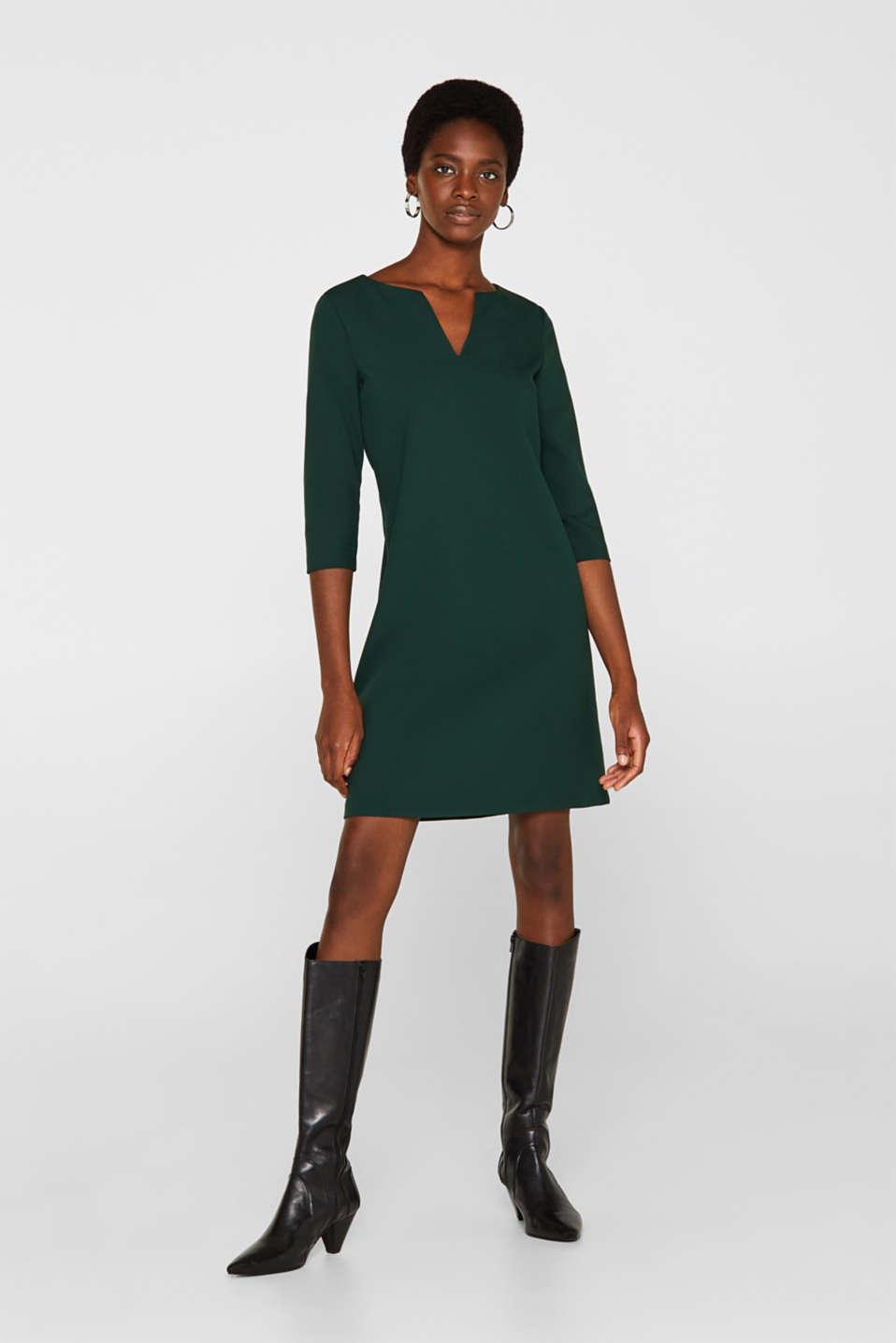 V-neck shift dress, DARK TEAL GREEN, detail image number 1