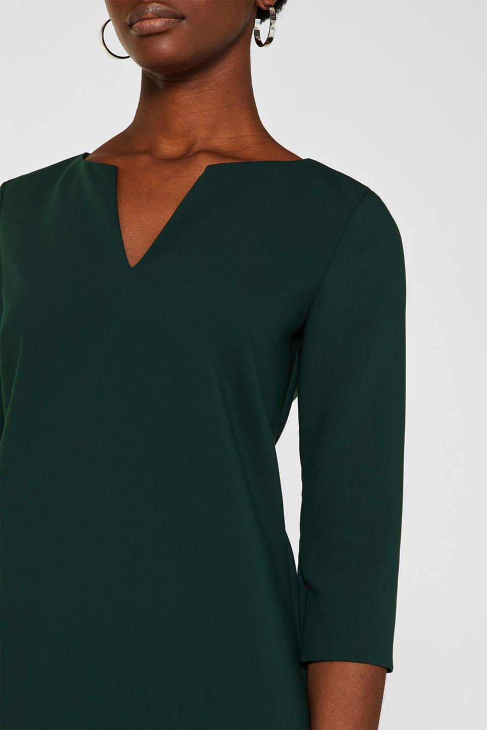 V-neck shift dress, DARK TEAL GREEN, detail image number 2