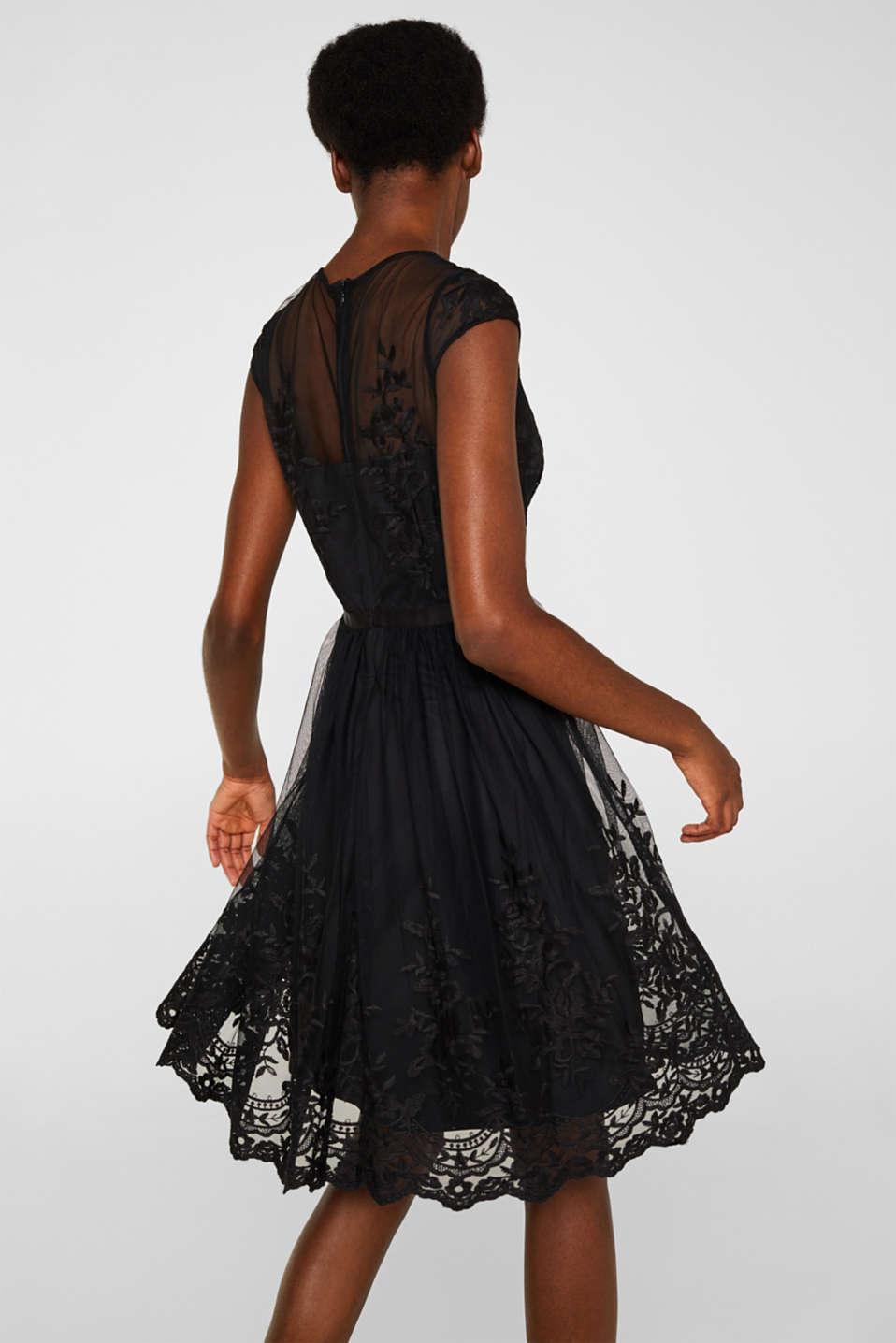 Embroidered tulle dress, BLACK, detail image number 2