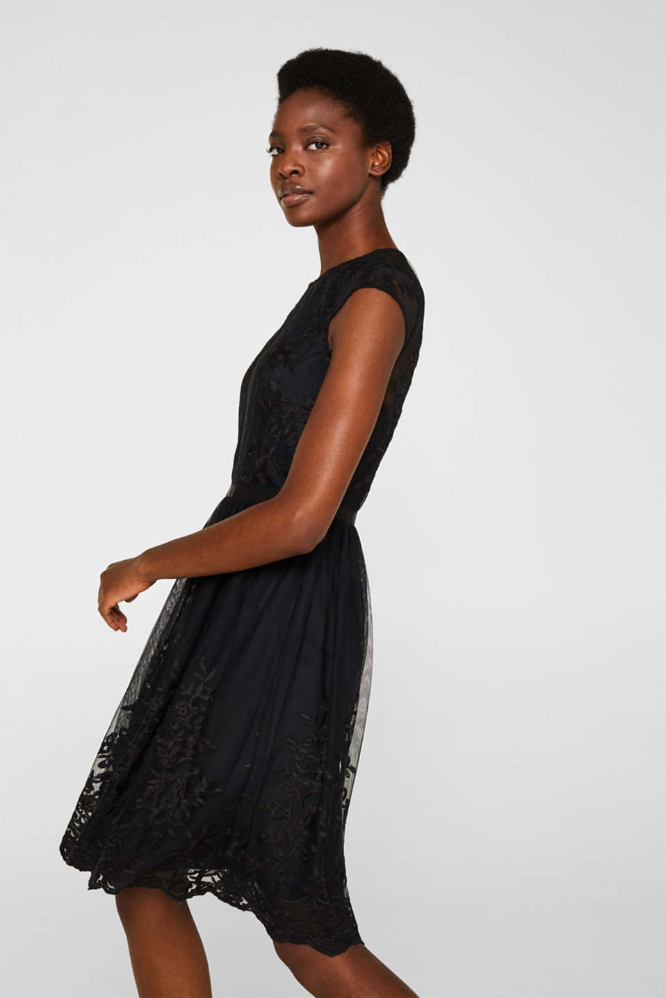 Embroidered tulle dress, BLACK, detail image number 5