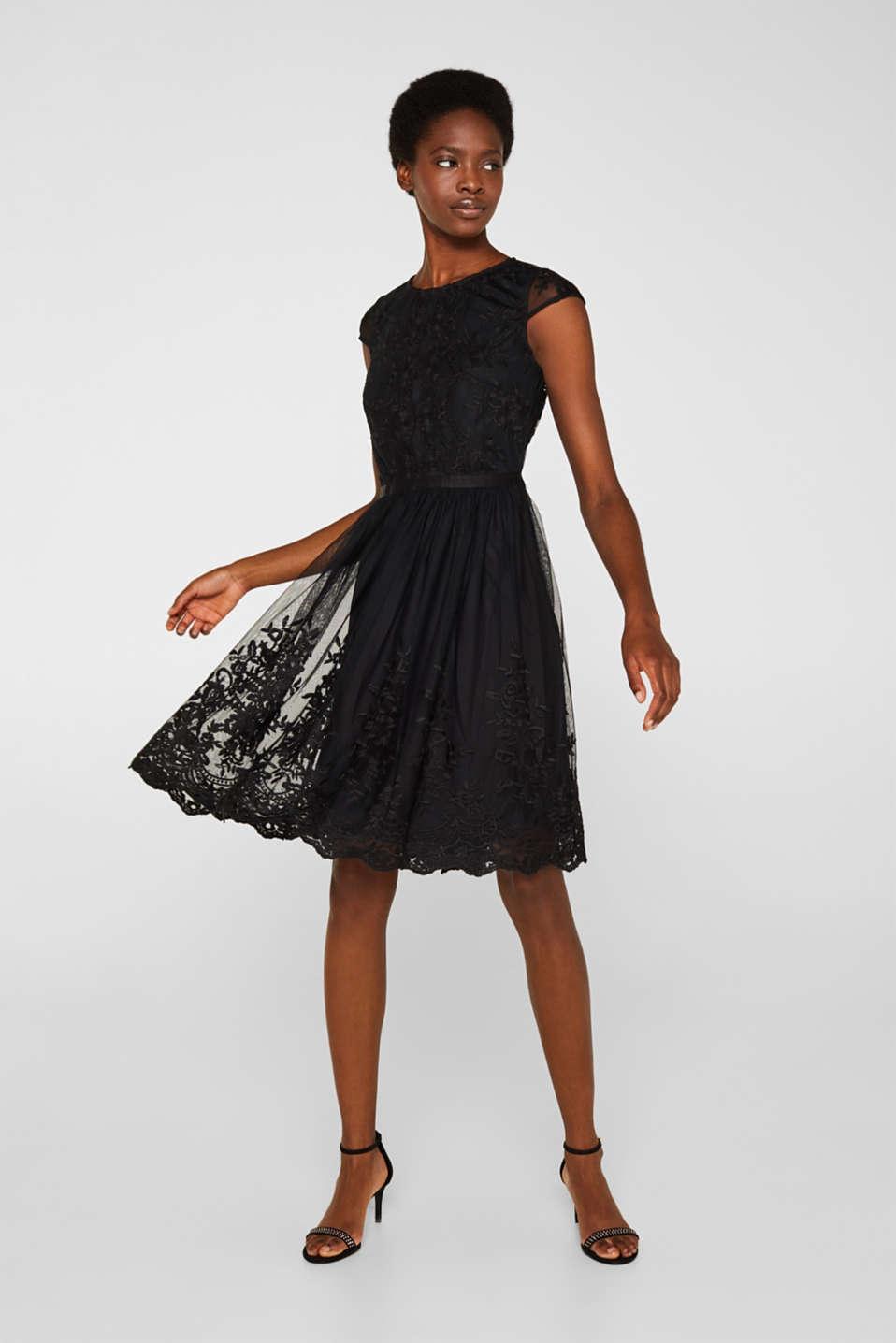 Embroidered tulle dress, BLACK, detail image number 1