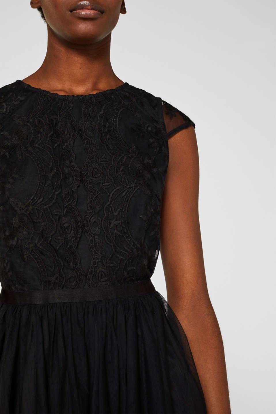 Embroidered tulle dress, BLACK, detail image number 3