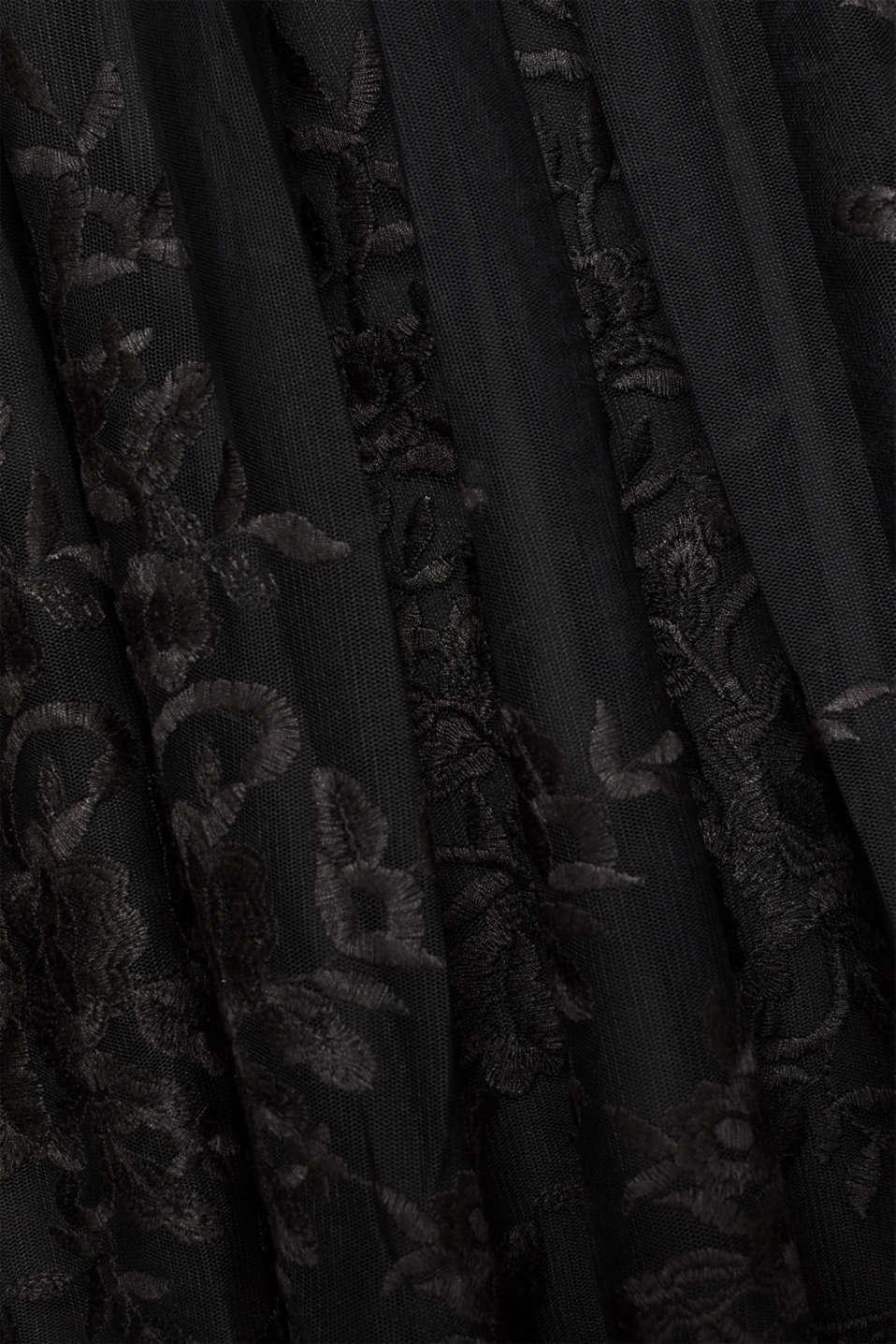 Embroidered tulle dress, BLACK, detail image number 4