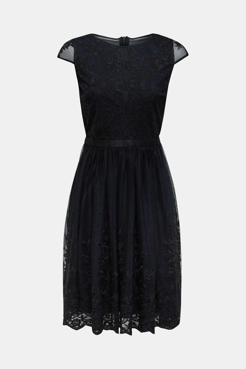 Embroidered tulle dress, BLACK, detail image number 6