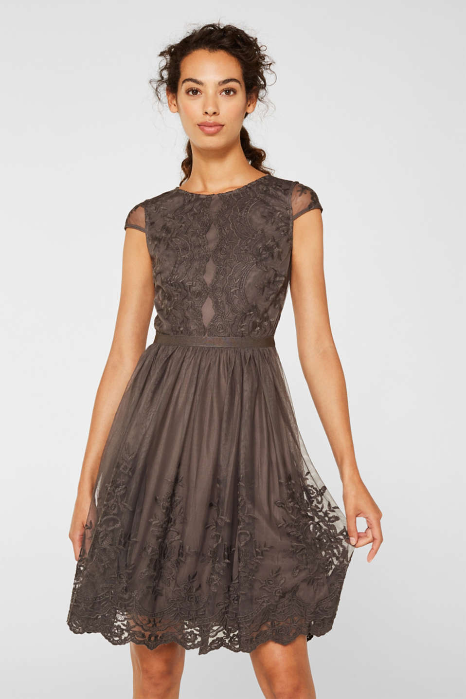 Embroidered tulle dress, LIGHT BEIGE, detail image number 0