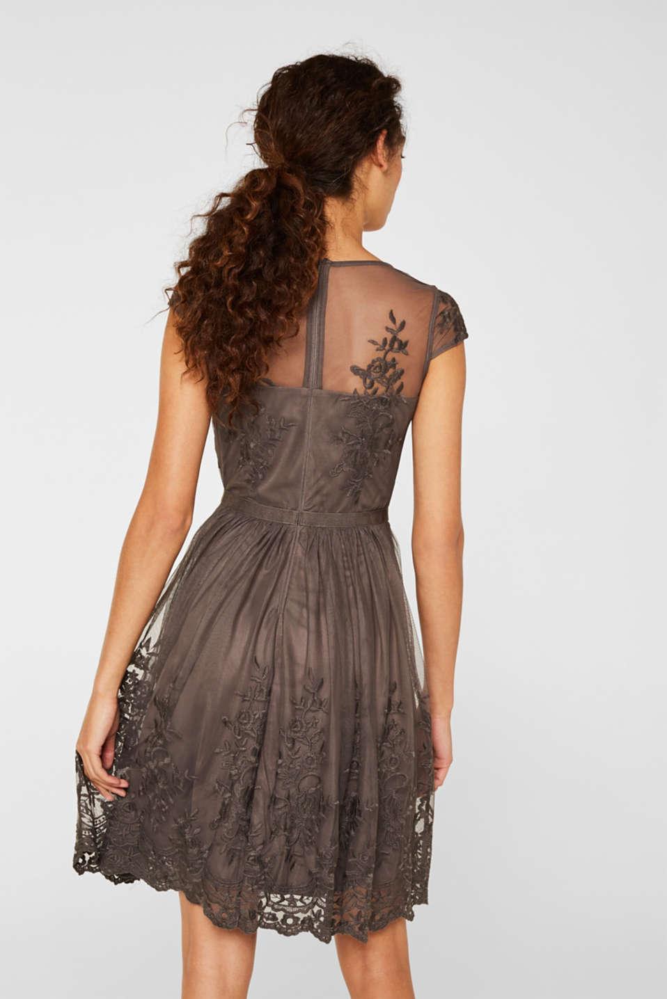 Embroidered tulle dress, LIGHT BEIGE, detail image number 2