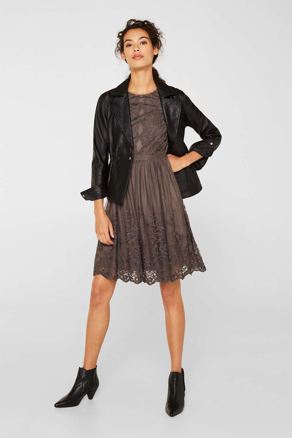Embroidered tulle dress, LIGHT BEIGE, detail image number 1