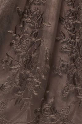 Embroidered tulle dress, LIGHT BEIGE, detail