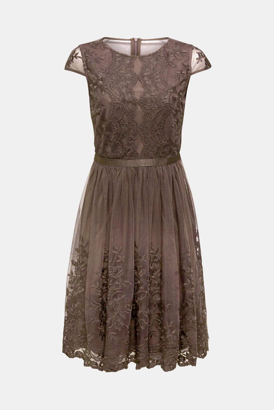 Embroidered tulle dress, LIGHT BEIGE, detail image number 5