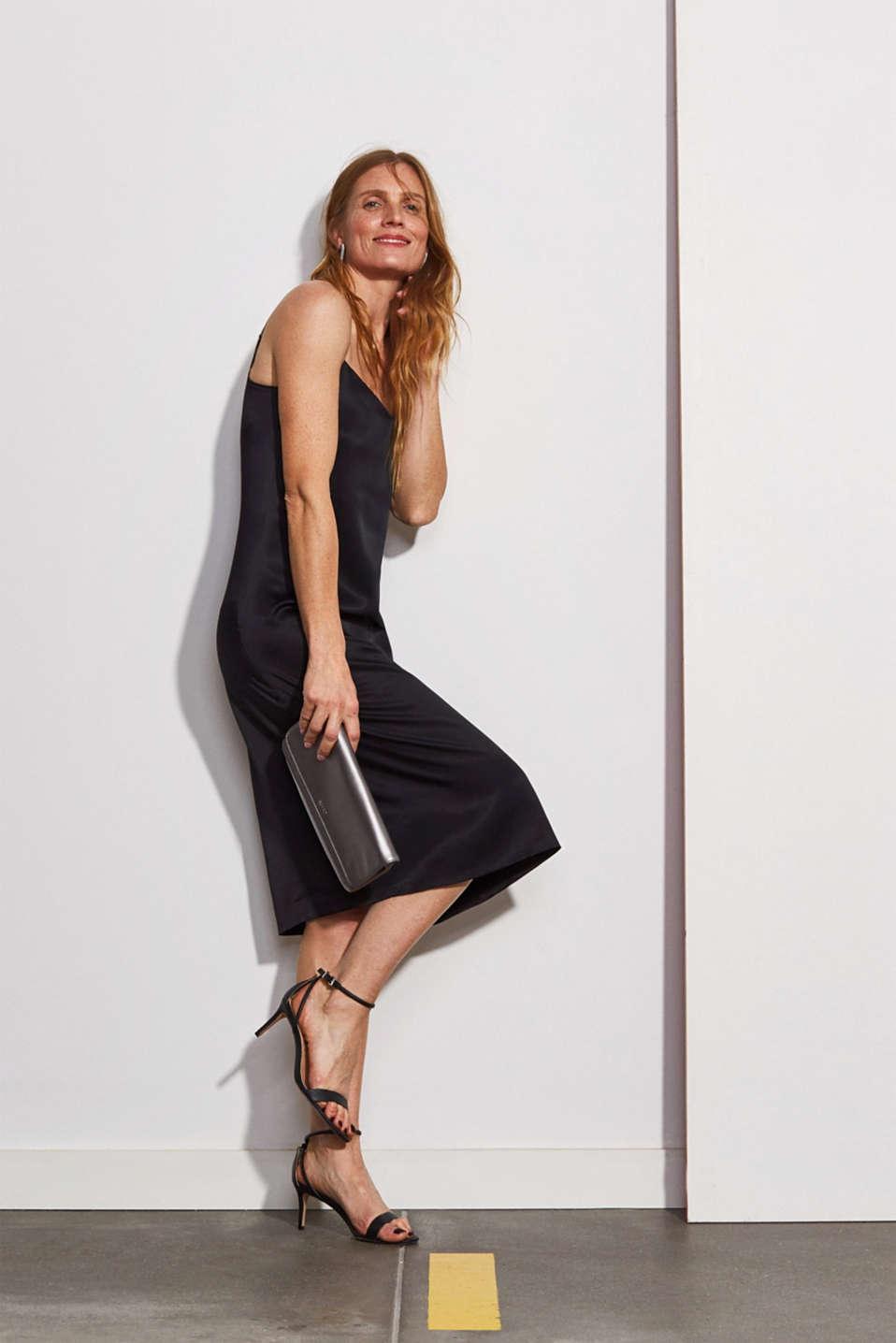 Satin dress in a midi length, BLACK, detail image number 0