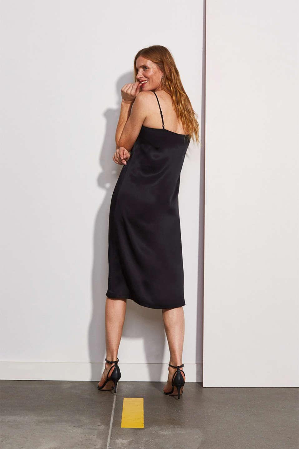 Satin dress in a midi length, BLACK, detail image number 2