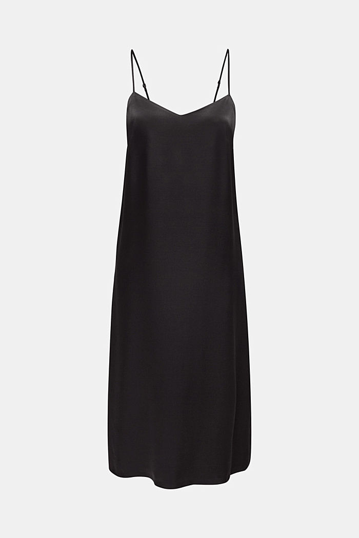 Satin dress in a midi length, BLACK, detail image number 4