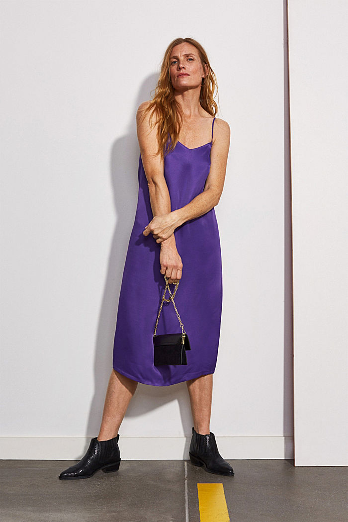 Satin dress in a midi length, PURPLE, detail image number 0