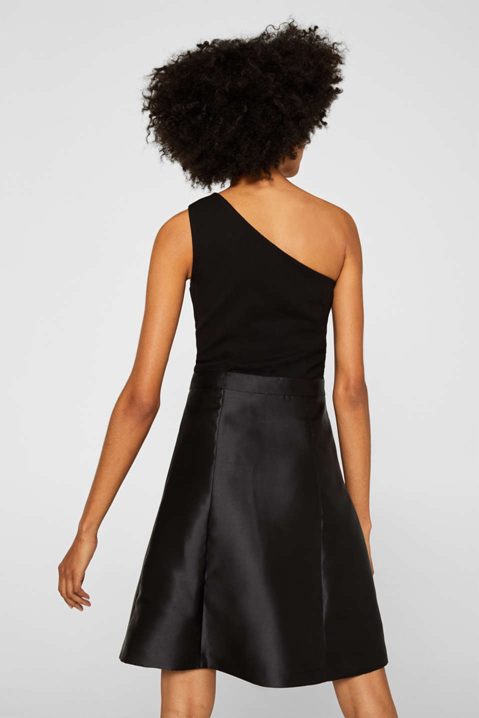 One-shoulder dress in a mix of fabrics, BLACK, detail image number 3