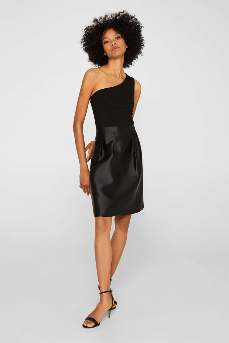 One-shoulder dress in a mix of fabrics, BLACK, detail image number 1