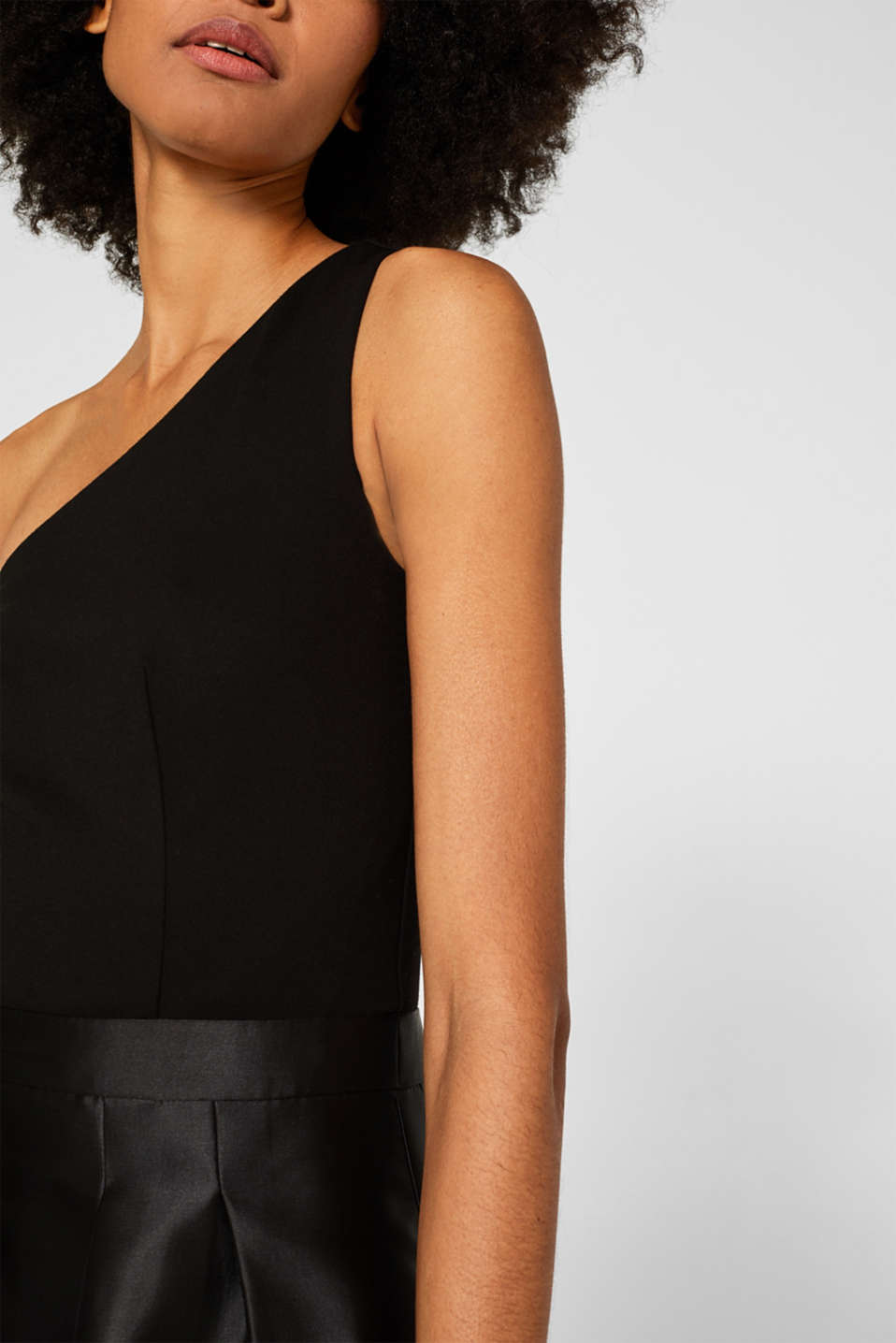 One-shoulder dress in a mix of fabrics, BLACK, detail image number 2