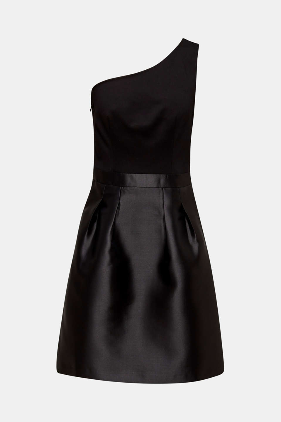 One-shoulder dress in a mix of fabrics, BLACK, detail image number 6