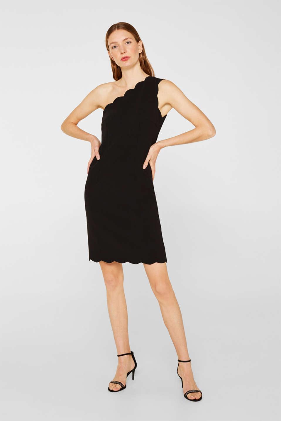 One-shoulder stretch dress, BLACK, detail image number 1