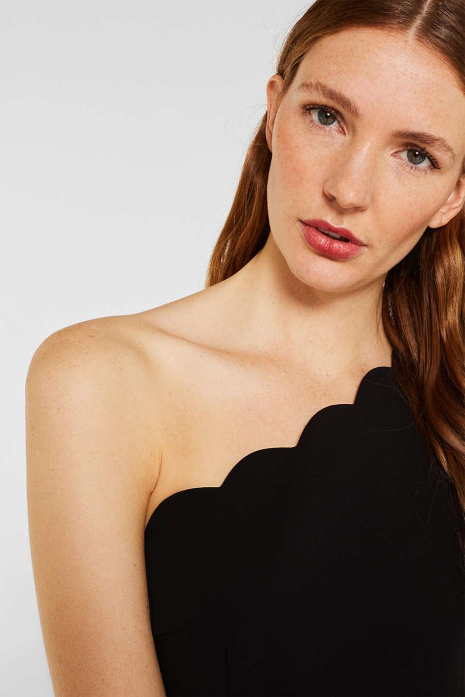 One-shoulder stretch dress, BLACK, detail image number 2
