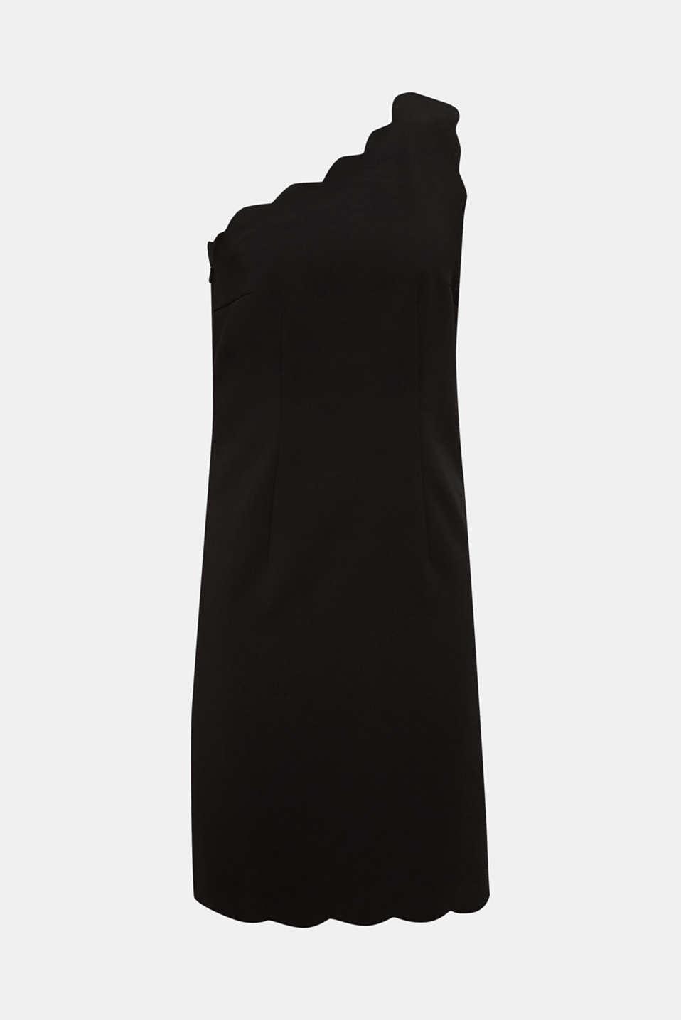One-shoulder stretch dress, BLACK, detail image number 5