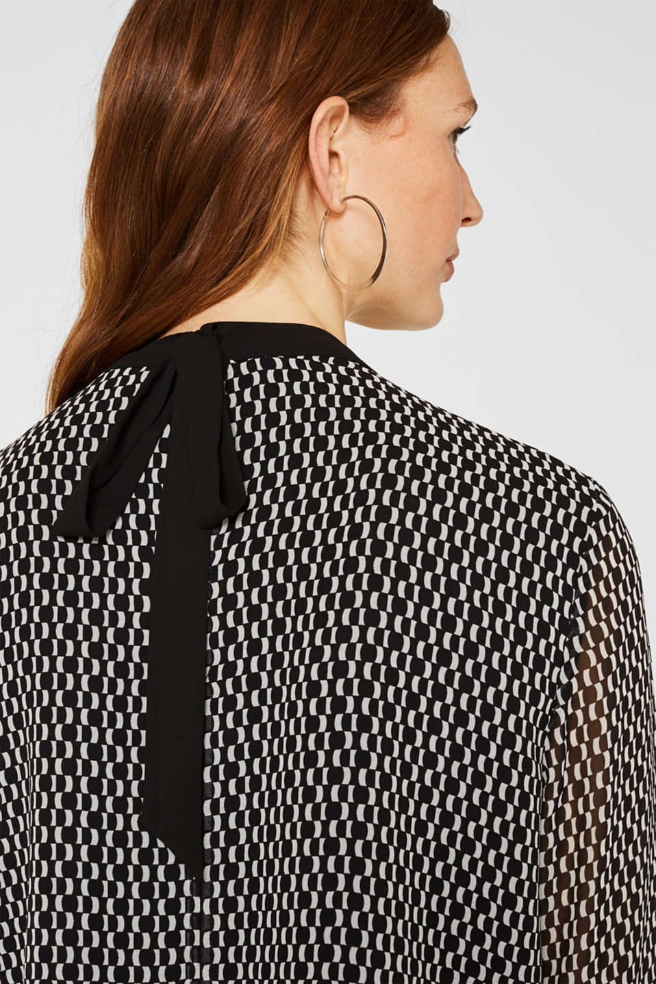 Band collar blouse with a bow on the back, BLACK, detail image number 2