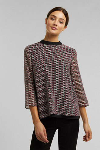 Band collar blouse with a bow on the back