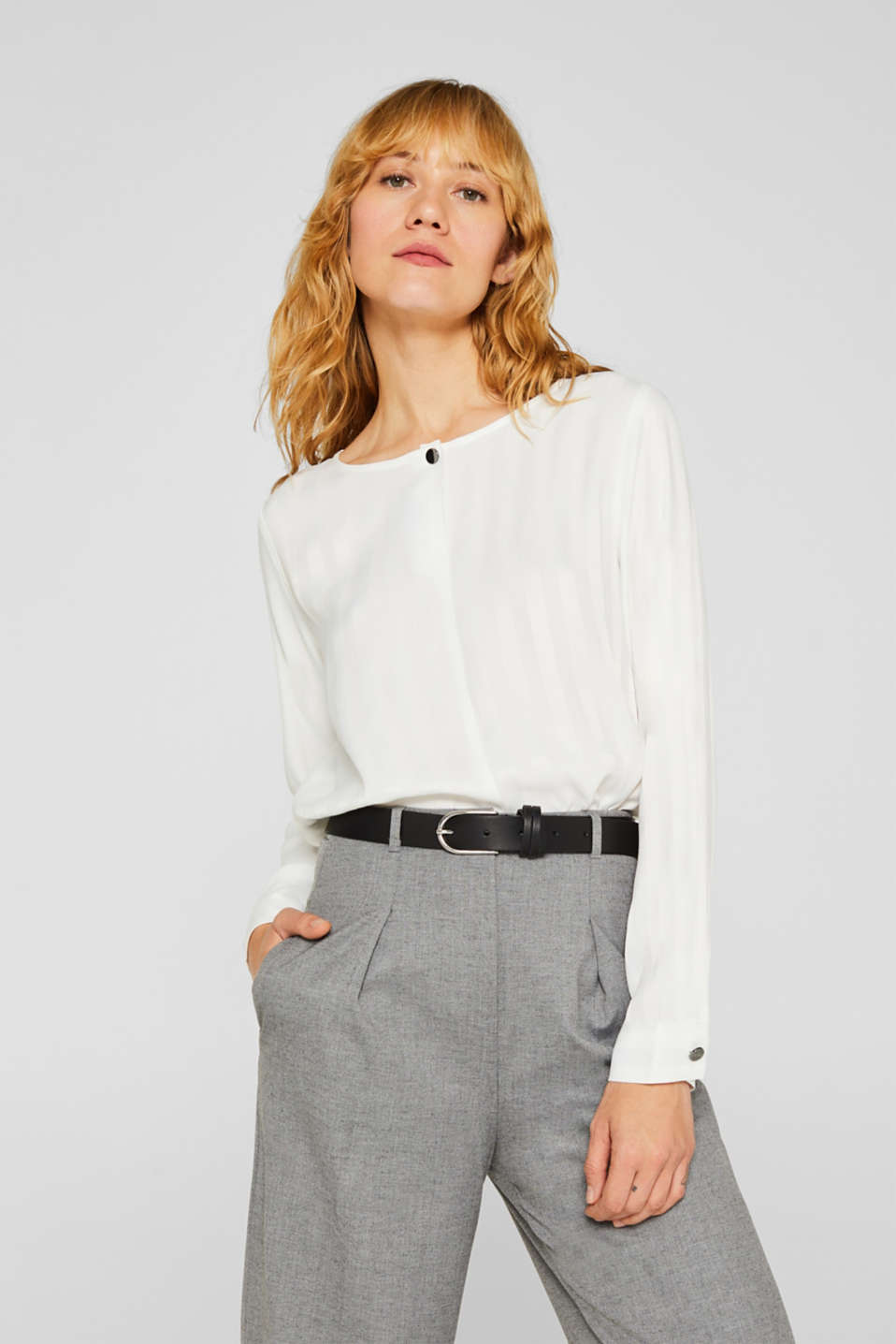 Blouse with shiny matte stripes, OFF WHITE, detail image number 0