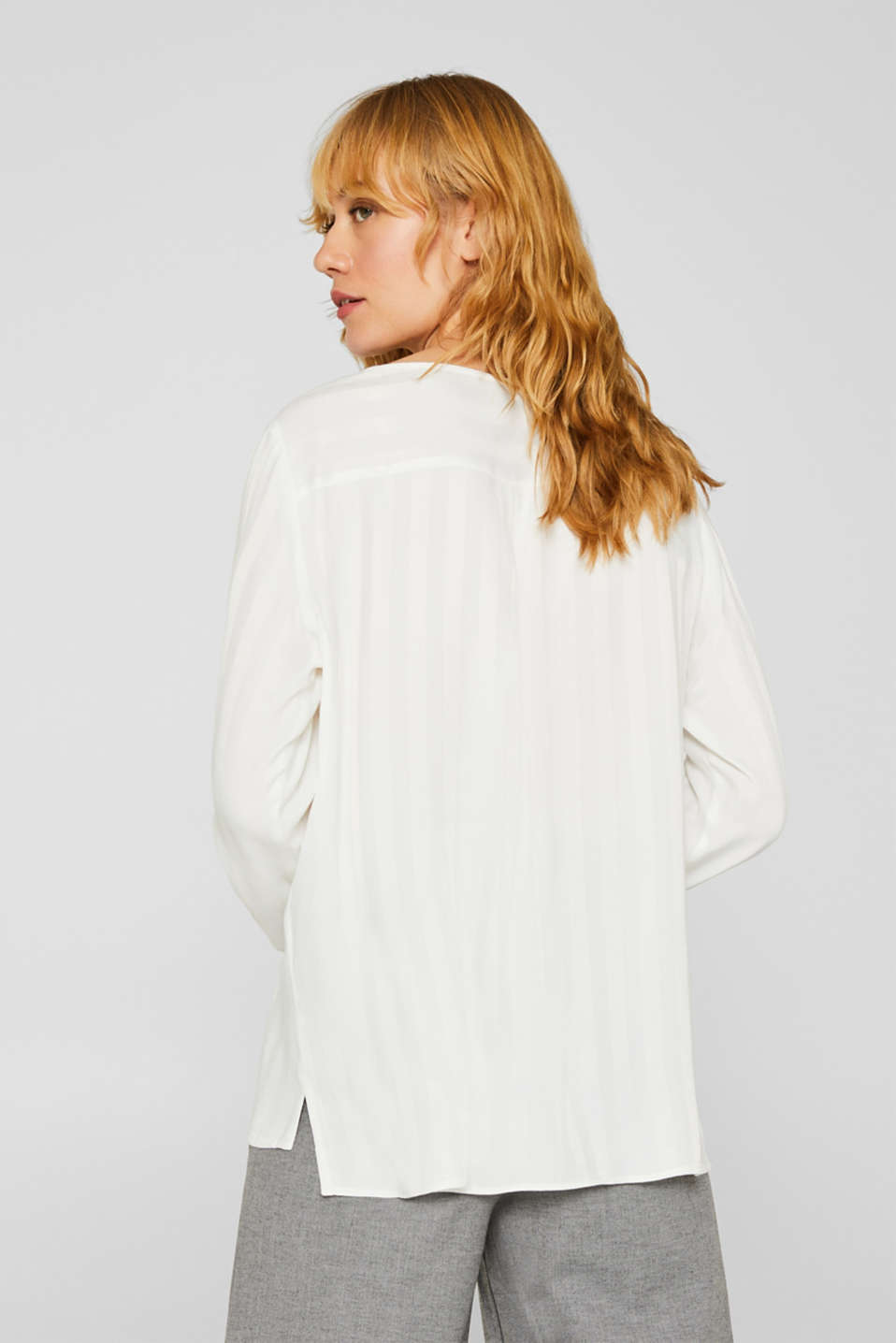 Blouse with shiny matte stripes, OFF WHITE, detail image number 3