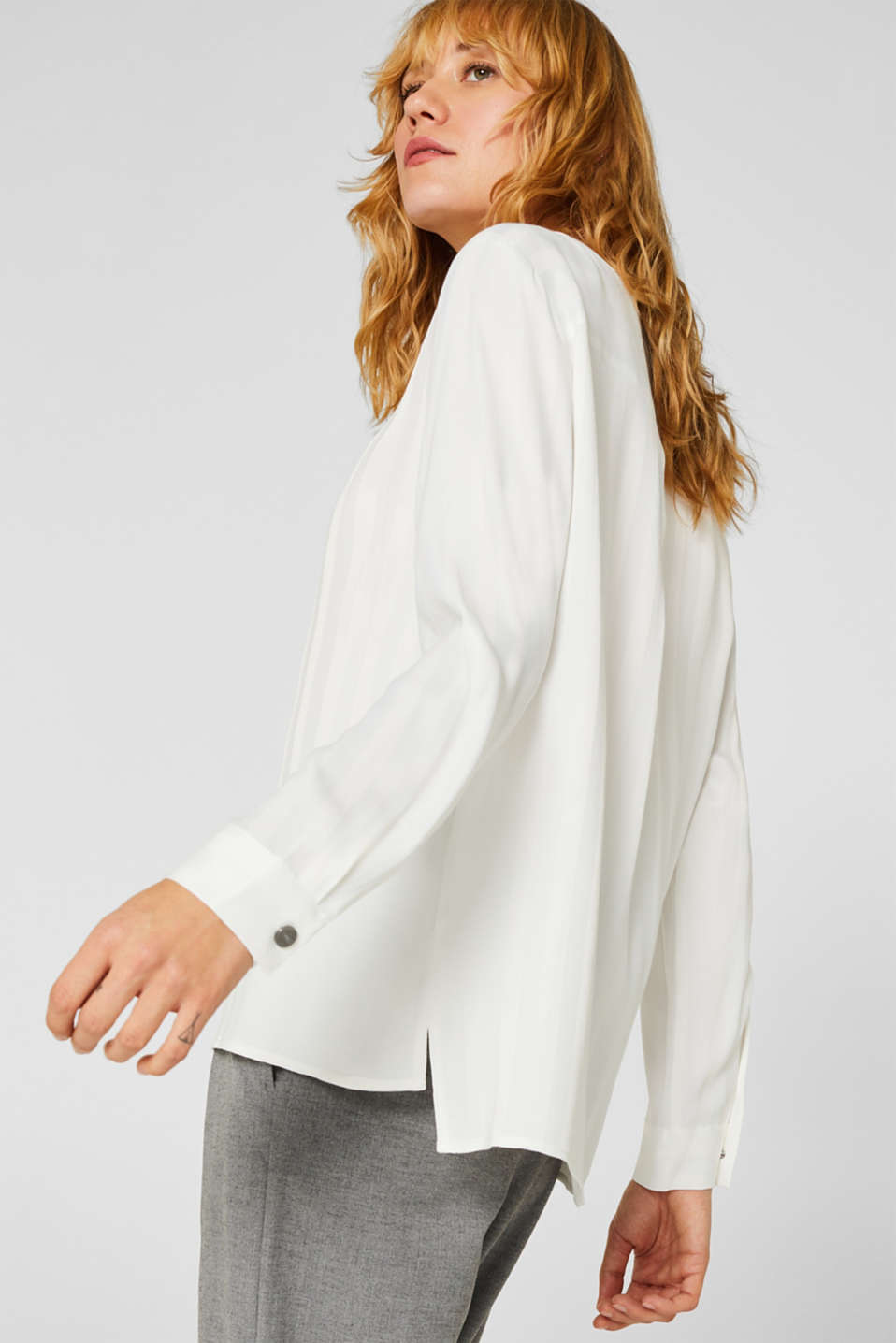 Blouse with shiny matte stripes, OFF WHITE, detail image number 5