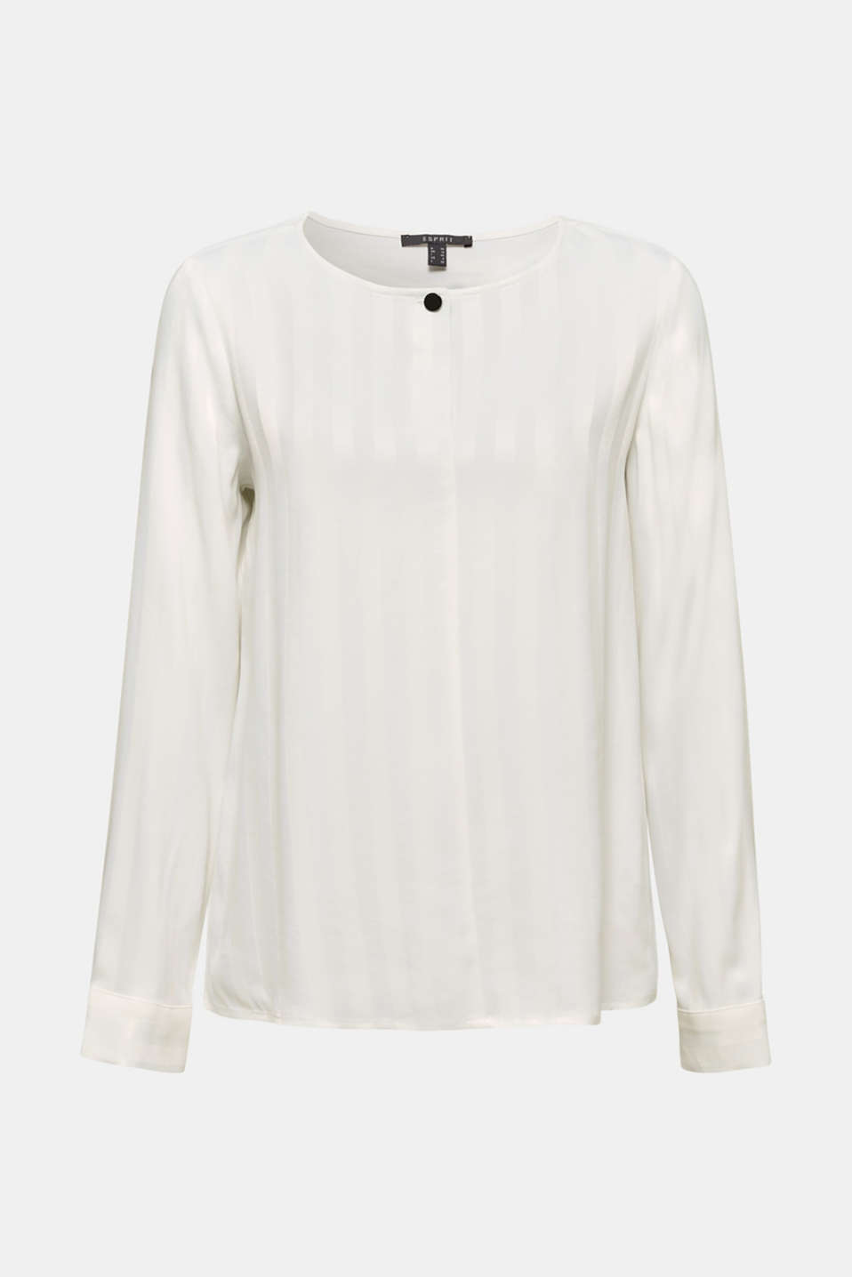 Blouse with shiny matte stripes, OFF WHITE, detail image number 7