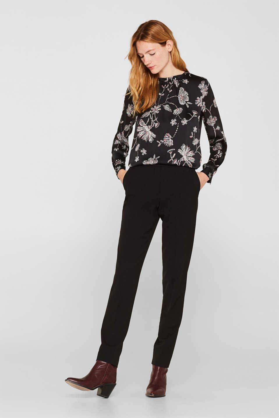 Satin crinkled blouse with a smocked detail, BLACK, detail image number 6