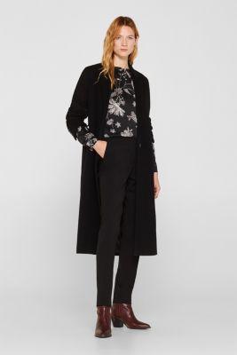 Satin crinkled blouse with a smocked detail, BLACK, detail