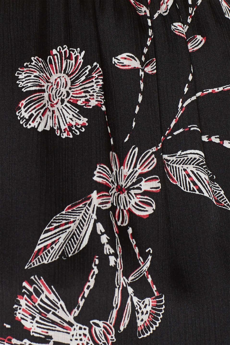 Satin crinkled blouse with a smocked detail, BLACK, detail image number 4