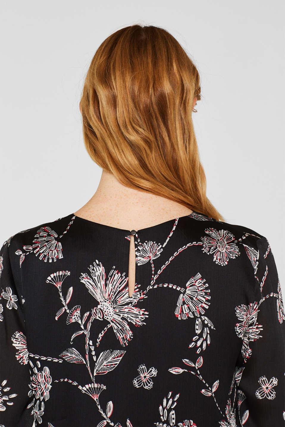Satin crinkled blouse with a smocked detail, BLACK, detail image number 5