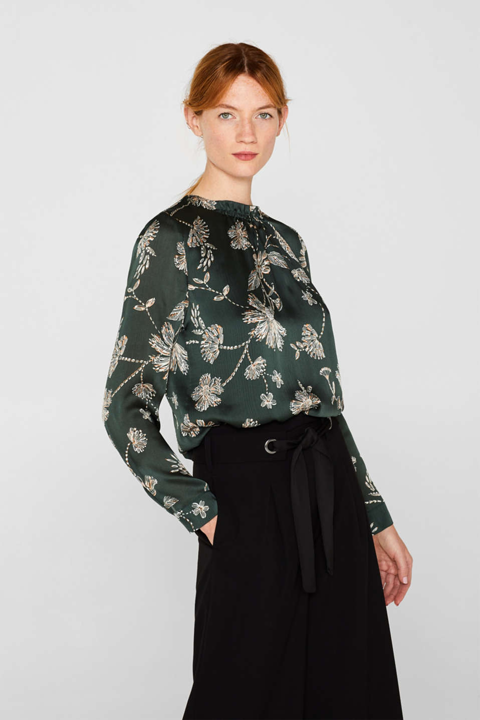 Esprit - Satin crinkled blouse with a smocked detail