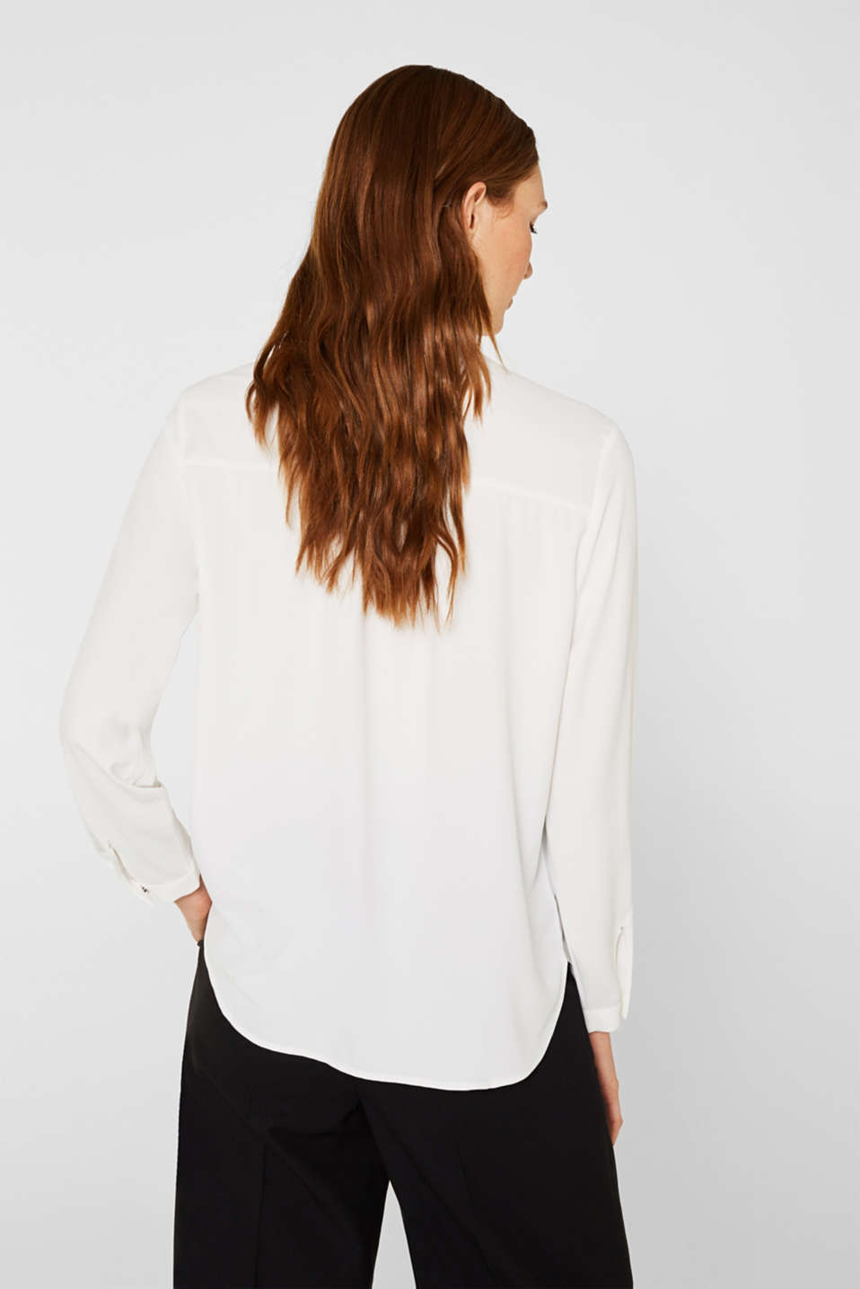 Crêpe blouse with an adjustable collar, OFF WHITE, detail image number 3