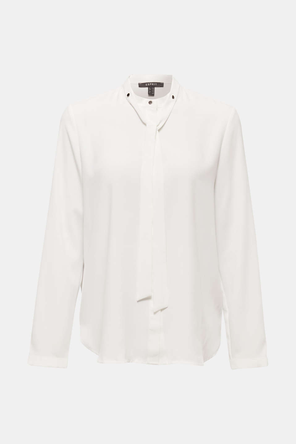 Crêpe blouse with an adjustable collar, OFF WHITE, detail image number 5