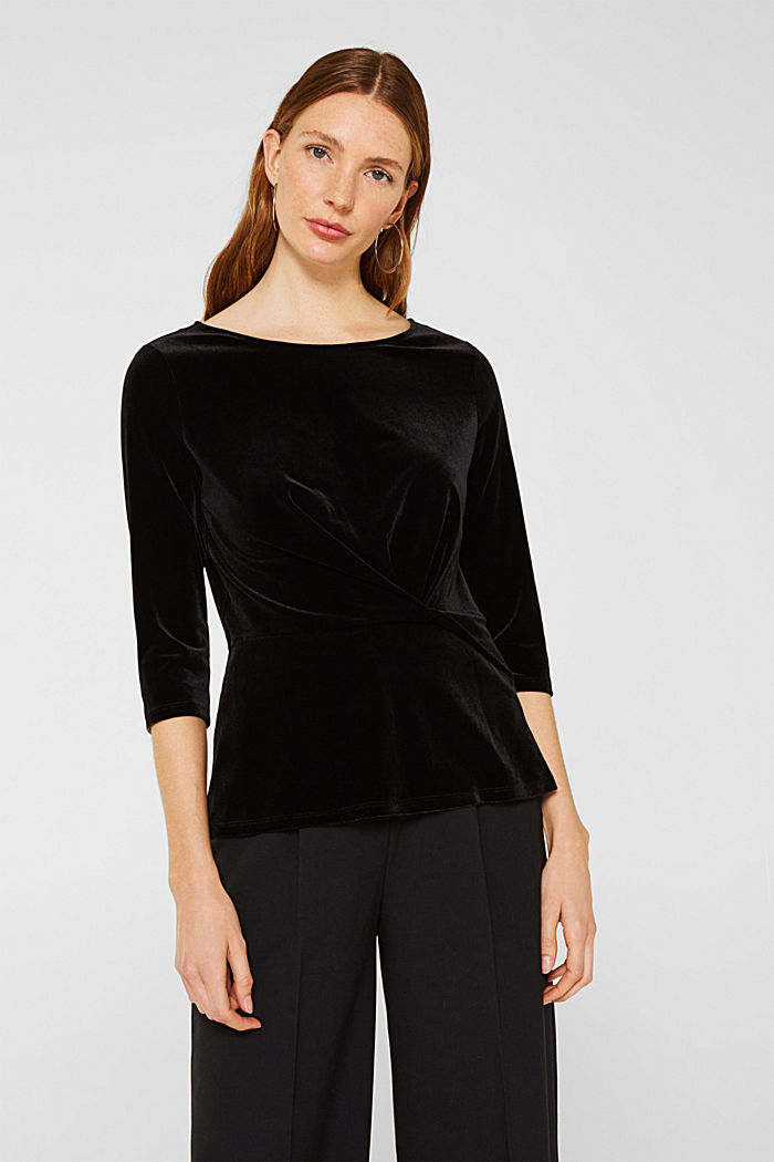 Stretch velvet T-shirt with a draped effect, BLACK, detail image number 0
